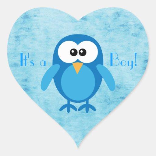 Cute Blue Cartoon Owl Its A Boy New Baby Heart Sticker