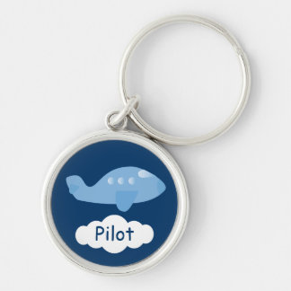 Cute Blue Cartoon Plane Customizable Pilot Silver-Colored Round Key Ring