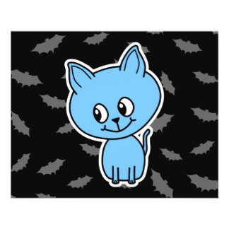 Cute Blue Cat and Bats. Flyer