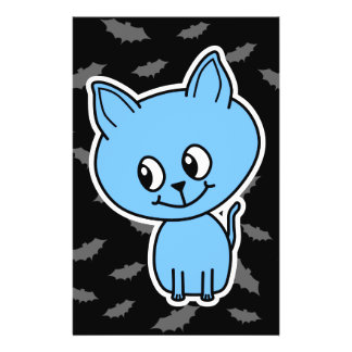 Cute Blue Cat and Bats. Flyers