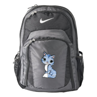 Cute blue cat cartoon backpack