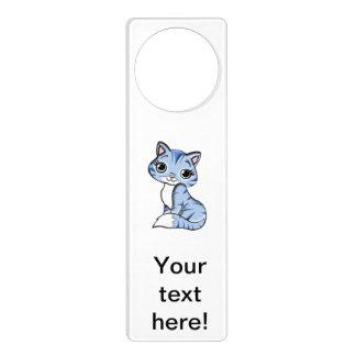 Cute blue cat cartoon door hanger