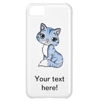 Cute blue cat cartoon iPhone 5C case