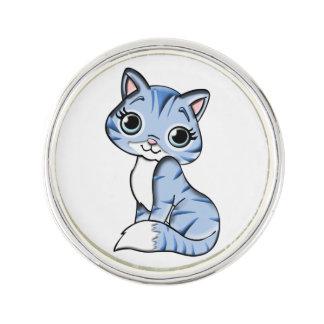 Cute blue cat cartoon lapel pin