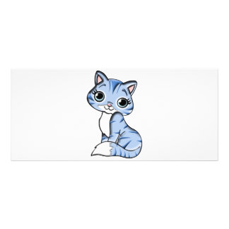 Cute blue cat cartoon rack card