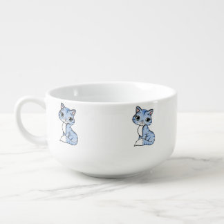 Cute blue cat cartoon soup mug