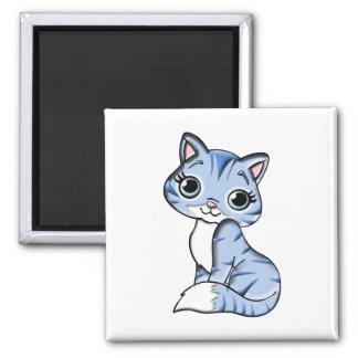 Cute blue cat cartoon square magnet
