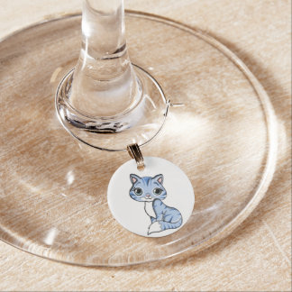 Cute blue cat cartoon wine charm