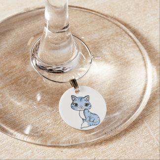 Cute blue cat cartoon wine charms