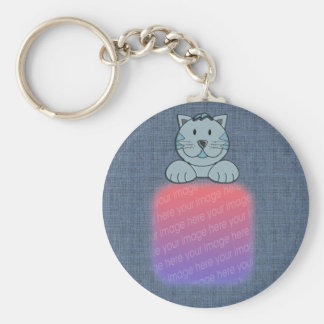 Cute Blue Cat Your Photo Keychain
