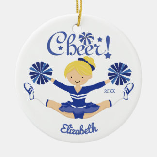 Cute Blue Cheer Blonde Cheerleader Personalized Ceramic Ornament