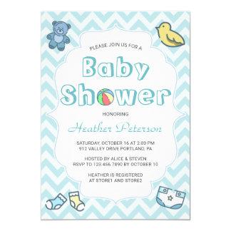 Cute Blue Chevron Baby Shower Card