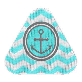 Cute Blue Chevron Pattern Anchor Smile