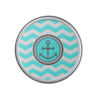Cute Blue Chevron Pattern Anchor Smile Speaker