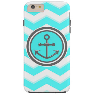 Cute Blue Chevron Pattern Anchor Smile Tough iPhone 6 Plus Case