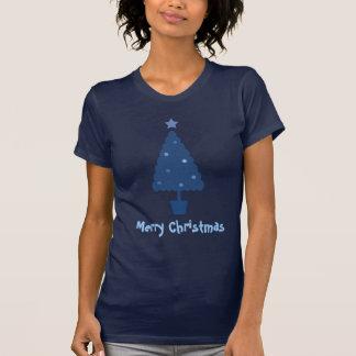 Cute Blue Christmas Tree Tee Shirt
