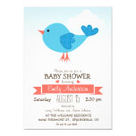 Cute Blue & Coral Bird Baby Shower or Sprinkle 13 Cm X 18 Cm Invitation Card