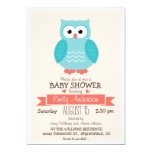 Cute Blue & Coral Owl Baby Shower or Sprinkle 13 Cm X 18 Cm Invitation Card