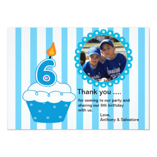Cute Blue Cupcake Photo Thank You Card Custom Invites