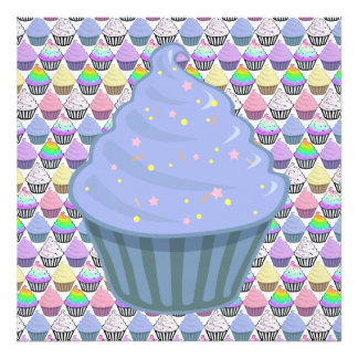 Cute Blue Cupcake Swirl Icing With Sprinkles Photograph