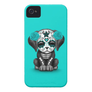 Cute Blue Day of the Dead Puppy Dog iPhone 4 Case