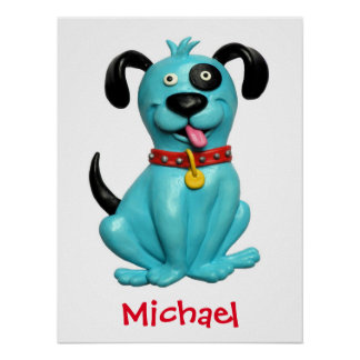 Cute Blue Dog Baby Boy Shower Nursery Kids Room Poster