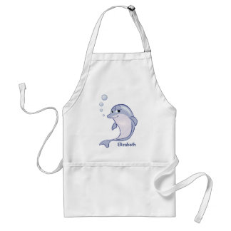 Cute Blue Dolphin To Personalize Adult Apron