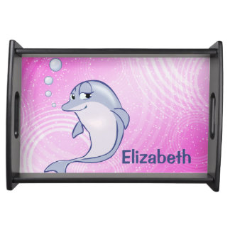 Cute Blue Dolphin To Personalize Serving Tray