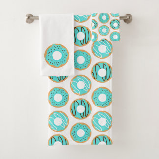 Cute Blue Donuts Pattern Bath Towel Set