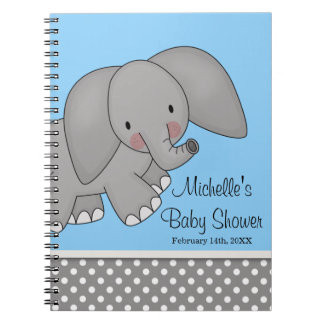 Cute Blue Elephant Baby Shower Guest Book Note Book