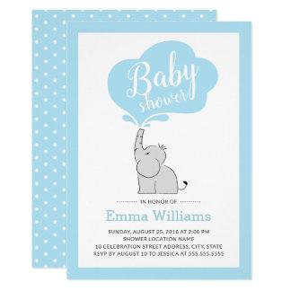 Cute Blue Elephant Baby Shower Invitation for Boy