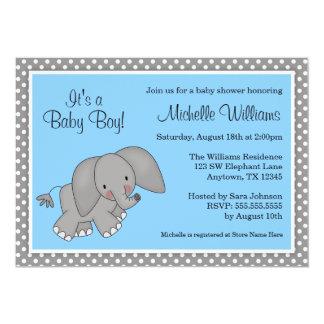 Cute Blue Elephant Boy Baby Shower 13 Cm X 18 Cm Invitation Card