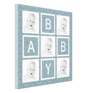 Cute Blue Floral Photo Grid Baby Boy or Girl Gallery Wrap Canvas