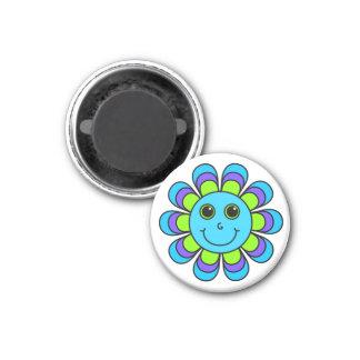 Cute Blue Flower Power Smiley Face 3 Cm Round Magnet