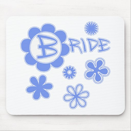 Cute Blue Flowers Bride Products Mouse Pad