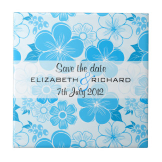 Cute blue flowers Save the date Tile