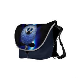 Cute Blue Furry Looking Creature Messenger Bags