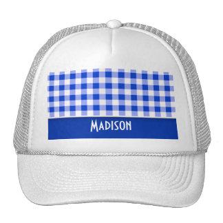 Cute Blue Gingham; Checkered Trucker Hat