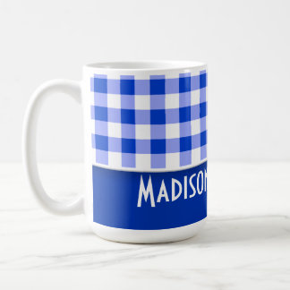 Cute Blue Gingham; Checkered Coffee Mugs