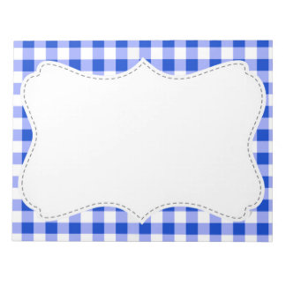 Cute Blue Gingham; Checkered Note Pad