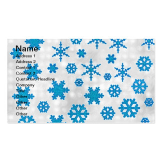 Cute Blue Glitter Snow Flakes on Snowy Background Business Card Template