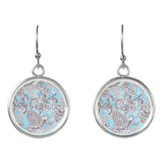 Cute blue gray classic floral earrings
