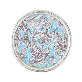 Cute blue gray classic floral lapel pin