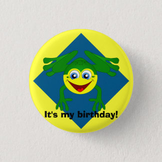 Cute Blue Green and Yellow Frog Birthday Button
