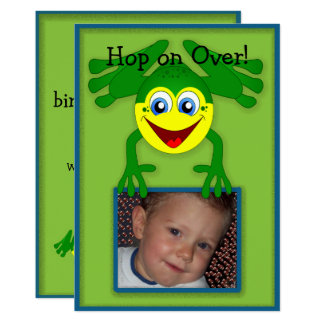 Cute Blue Green Frog Birthday Party Invitation