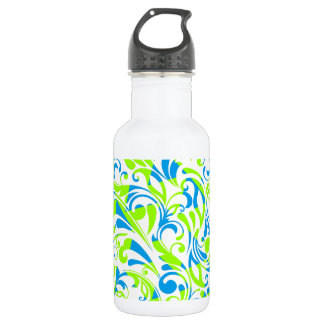 Cute blue green mixed floral patterns 532 ml water bottle
