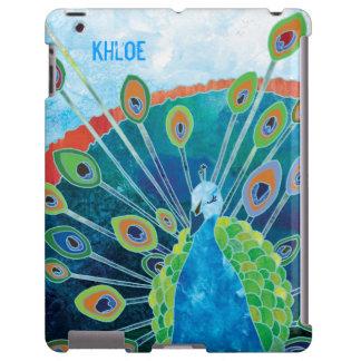 Cute Blue + Green Peacock Customizable iPad Cases