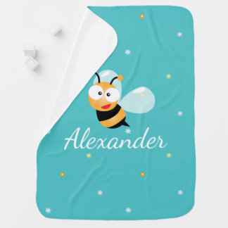 Cute Blue Green Sweet Bumble Bee Flowers Baby Boy Baby Blanket