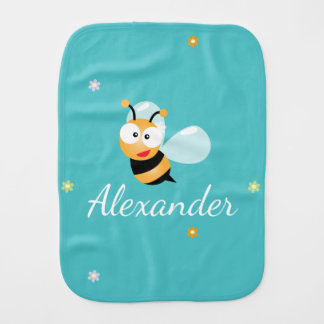 Cute Blue Green Sweet Bumble Bee Flowers Baby Boy Burp Cloth