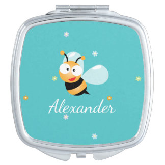 Cute Blue Green Sweet Bumble Bee Flowers Cartoon Compact Mirror